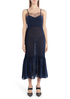 Fendi Tulle Trim Burnout Velvet Midi Dress