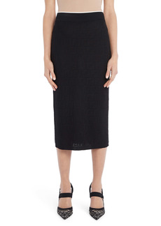 Fendi Whisper Logo Jacquard Cotton Blend Midi Sweater Skirt