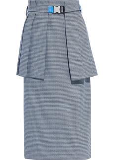 Fendi Woman Belted Wool-blend Jacquard Peplum Midi Skirt Light Blue