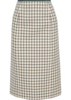 Fendi Woman Checked Wool Skirt Cream