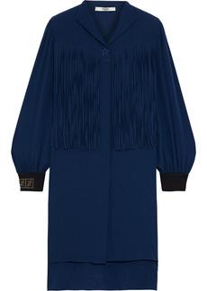 Fendi Woman Fringed Silk Crepe De Chine Mini Dress Navy