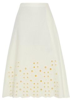 Fendi Woman Pleated Broderie Anglaise Cotton Skirt Ivory