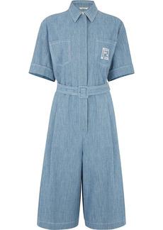 Fendi FF-embroidered short-sleeve denim playsuit