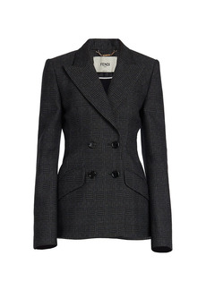 Fendi Herringbone Double Breasted Wool Blazer
