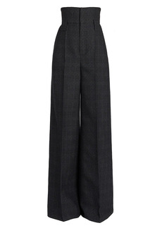 Fendi High-Waisted Price Of Wales Check Wool Pants