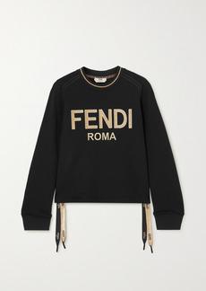 Fendi Jacquard-trimmed Embroidered Cotton-jersey Sweatshirt