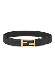 Fendi Logo Embossed Leather Belt