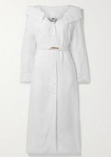 Fendi Off-the-shoulder Belted Linen-voile Midi Shirt Dress