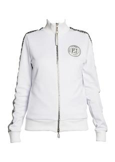 Fendi Silver Logo Stripe Track Jacket