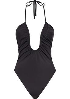 Fendi U-neck ruched swimsuit