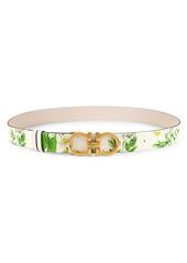 Ferragamo Donna Floral Leather Belt