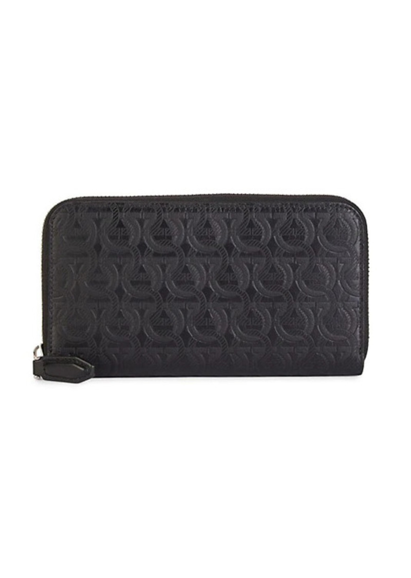 Ferragamo Embossed Logo Leather Travel Clutch