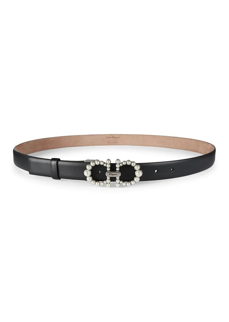 Ferragamo Faux Pearl-Embellished Leather Belt