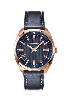 Ferragamo Evolution Rose Goldplated Leather Strap Watch