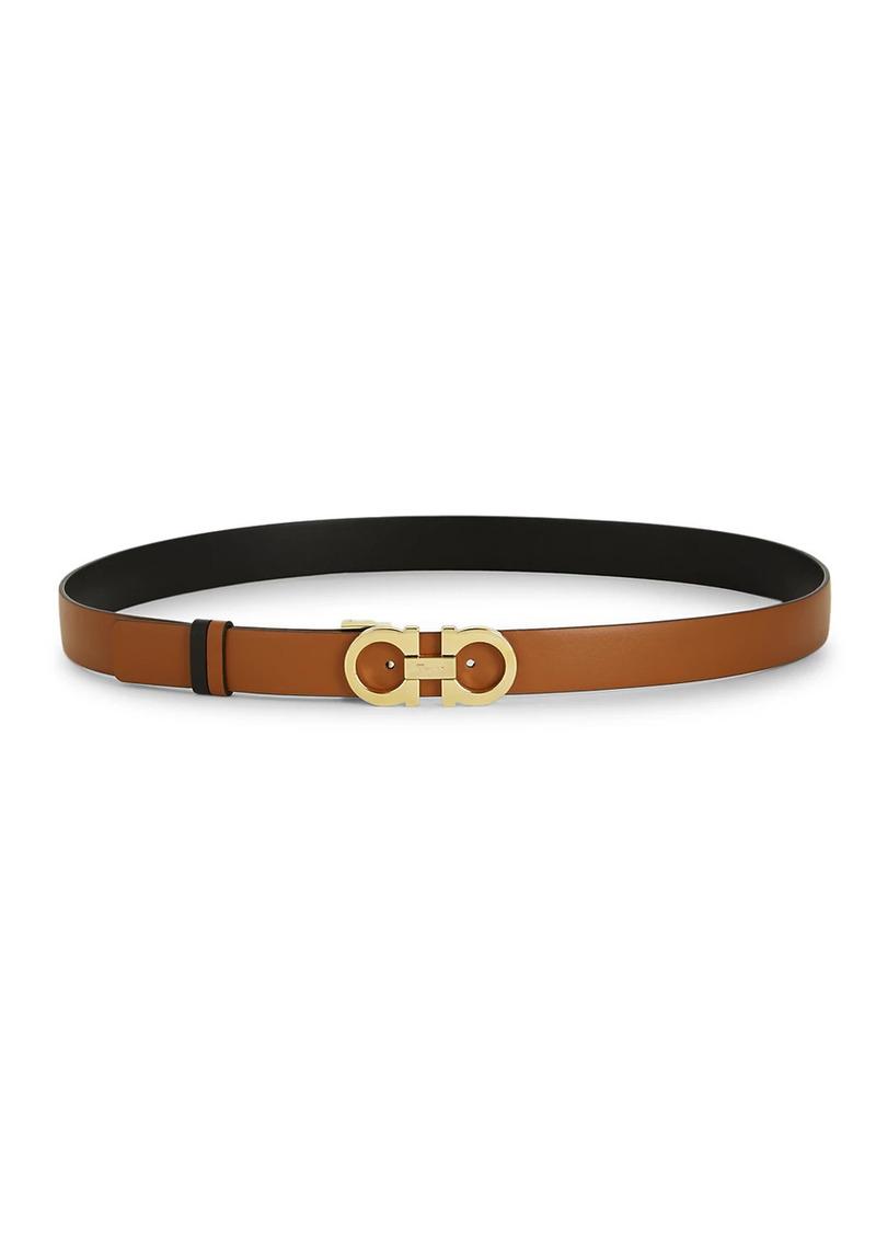Ferragamo Gancini Buickle Textured Leather Belt