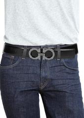 Ferragamo Gancini Diamond Dust Buckle Leather Belt