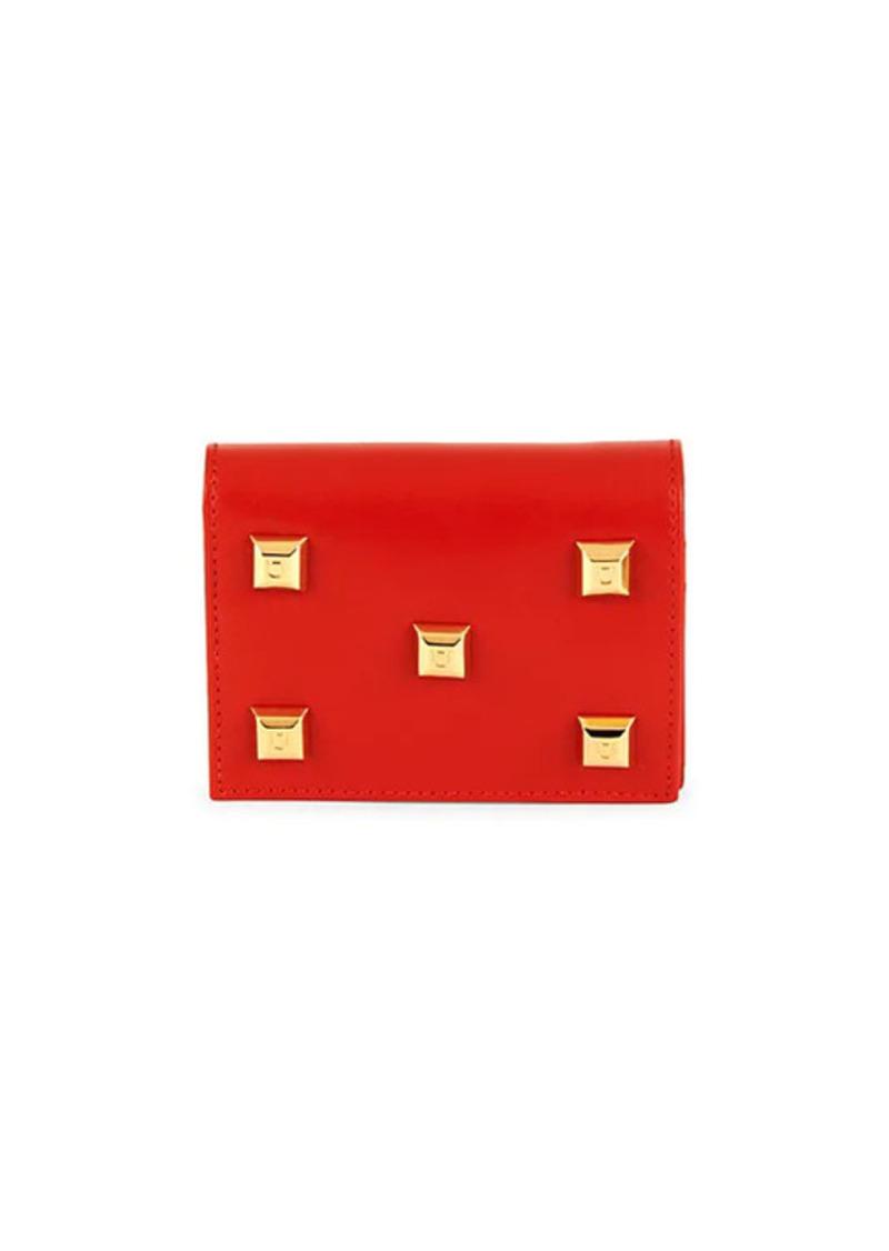 Ferragamo Lipstick Stud-Embellished Leather Bi-Fold Wallet