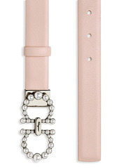 Ferragamo New Gancini Faux Pearl-Embellished Buckle Leather Belt