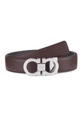 Ferragamo Reversible Gancini Buckle Embossed Leather Belt