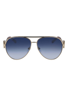 Salvatore Ferragamo 60mm Gradient Aviator Sunglasses