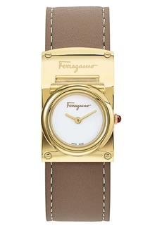 Salvatore Ferragamo Boxyz Leather Strap Watch, 23mm x 39mm