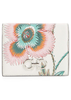 Salvatore Ferragamo Double Gancino Papavero Floral Print Leather French Wallet