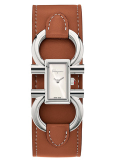 Salvatore Ferragamo Double Gancio Leather Cuff Strap Watch; 13mm x 23mm