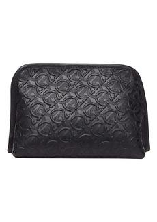 Salvatore Ferragamo Embossed Leather Dopp Kit
