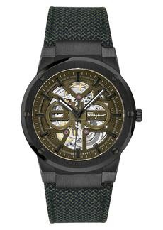 Salvatore Ferragamo F-80 Skeleton Automatic Strap Watch, 41mm