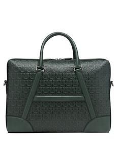Salvatore Ferragamo Gancini Embossed Leather Briefcase