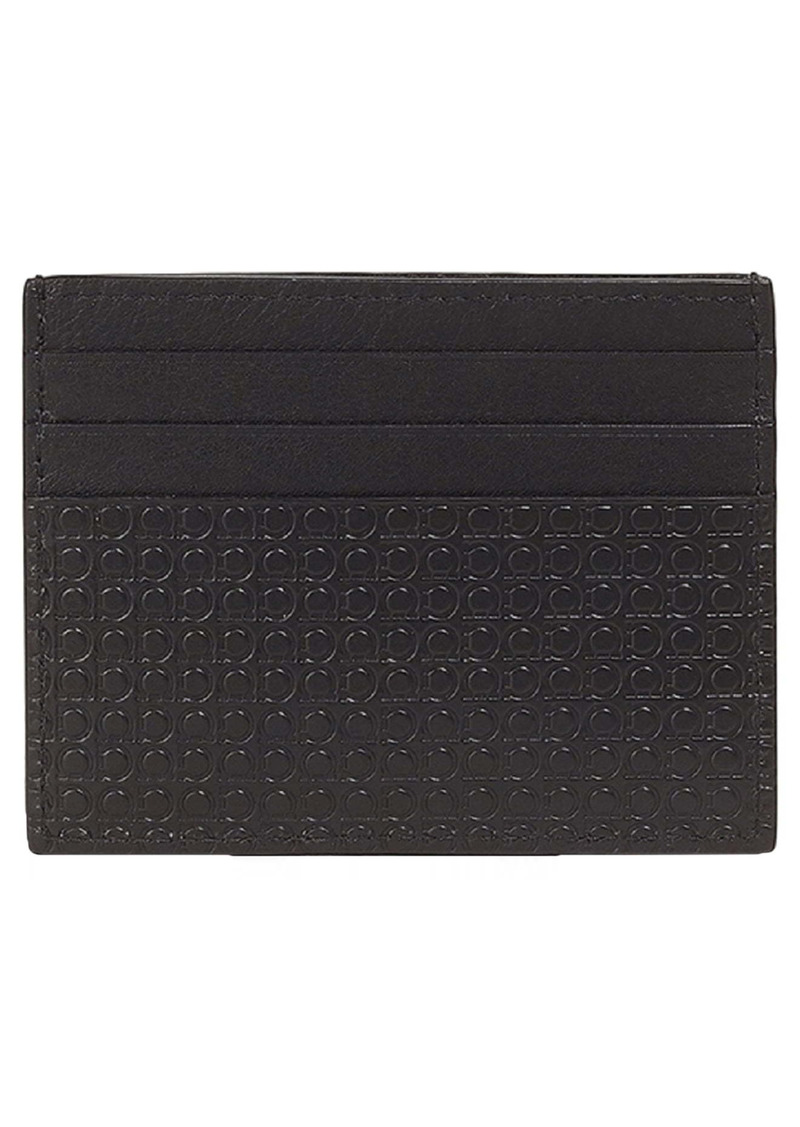Salvatore Ferragamo Gancio Embossed Leather Card Case