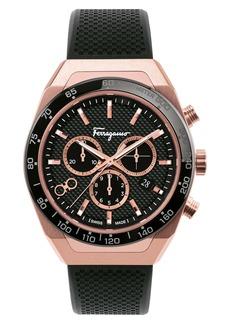 Salvatore Ferragamo SLX Chronograph Rubber Strap Watch, 43mm