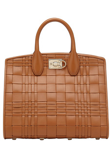 Salvatore Ferragamo The Studio Woven Leather Top Handle Bag