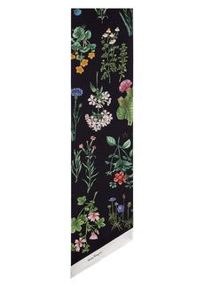 Salvatore Ferragamo Trasversale Floral Reversible Silk Skinny Scarf