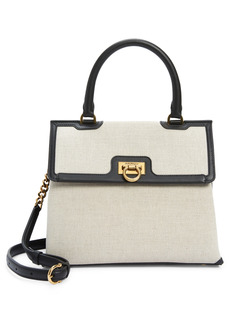 Salvatore Ferragamo Trifolio Kuban Canvas & Leather Top Handle Bag