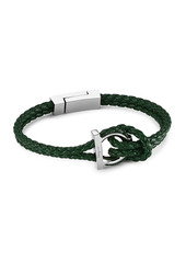 Ferragamo Silvertone & Braided Leather Bracelet