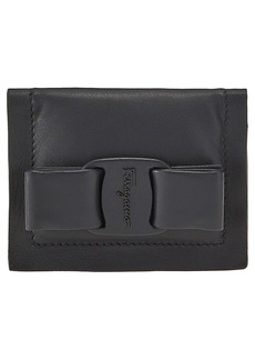 Women's Salvatore Ferragamo Viva Bow Leather Bifold Wallet - Black