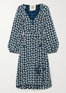 Figue Vivian Belted Printed Silk Crepe De Chine Dress