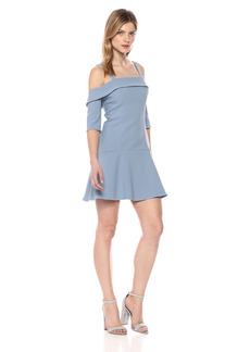 findersKEEPERS Women's Continuum Cold Shoulder Stretch Crepe Ruffle Mini Dress  S