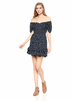 findersKEEPERS Women's Frida Off The Shoulder Short Mini Dress Navy Ditsy doo xs