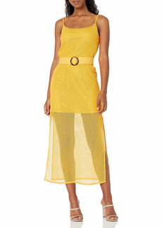 findersKEEPERS Women's Sleeveless Belted Coconut Illusion Midi Dress  S