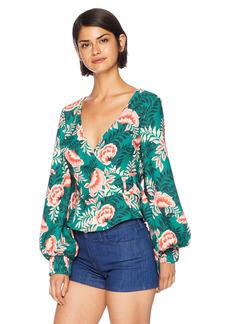 findersKEEPERS Women's Songbird Long Sleeve Wrap Top with Belt Detail  L