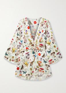 Fleur Du Mal Belted Printed Silk-blend Satin Robe