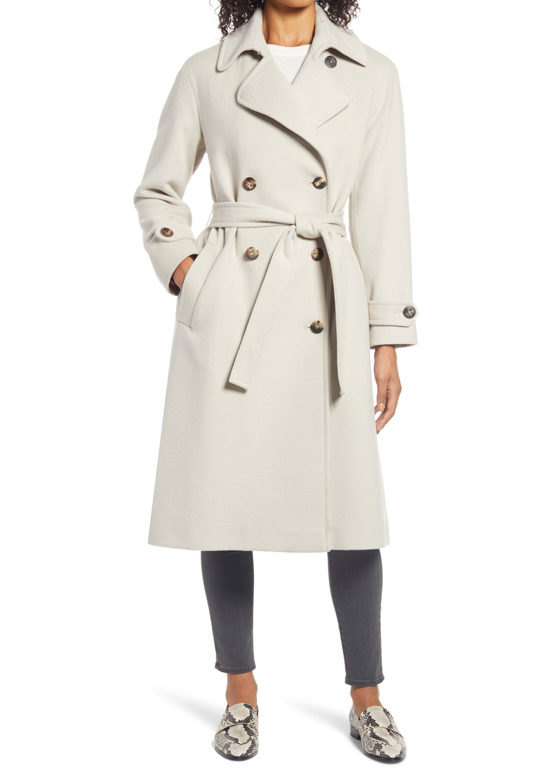Fleurette Wool Double Breasted Trench Coat