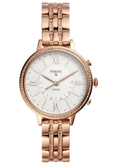 Fossil Women's Tech Jacqueline Rose Gold-Tone Stainless Steel Bracelet Hybrid Smart Watch 36mm