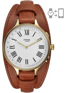 Fossil Tech Women's Eleanor Luggage Leather Strap Hybrid Smart Watch 36mm