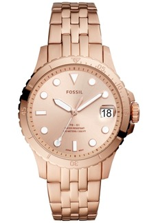 Fossil Women's Blue Diver Rose Gold-Tone Stainless Steel Bracelet Watch 36mm
