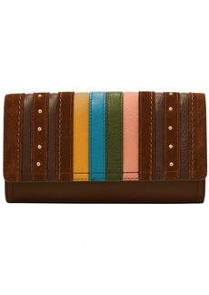 Fossil Women's Logan Stripe Leather Flap Clutch Wallet