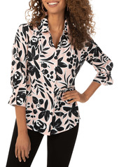 Foxcroft Foxcoft Floral Print Pleated Button-Up Shirt