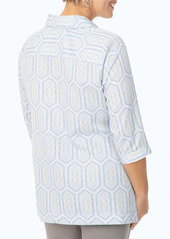 Foxcroft Angel Tile Print Tunic Top (Plus Size)